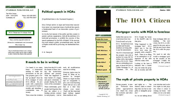 The HOA Citizen newsletter